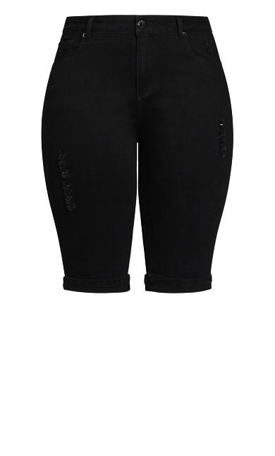 Knee Turn Up Short - black