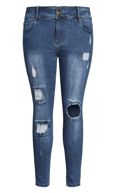 Asha Patched Apple Skinny Jean - indigo