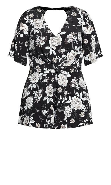 Mod Floral Playsuit - black