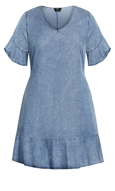 Denim Frill Dress - mid wash