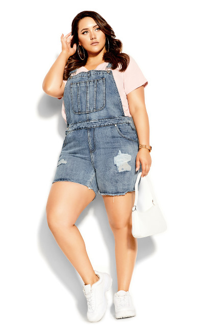 Plus Size 90's Overalls Short - stone wash