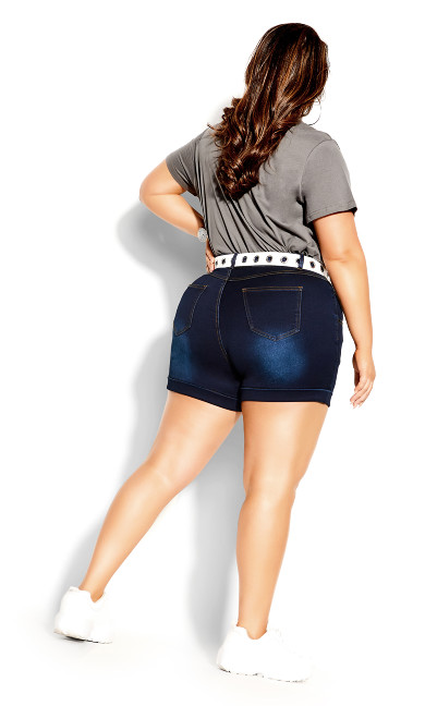 Hi Waist Short - dark denim