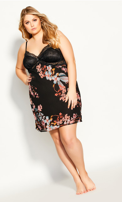 Plus Size Hannah Chemise - black