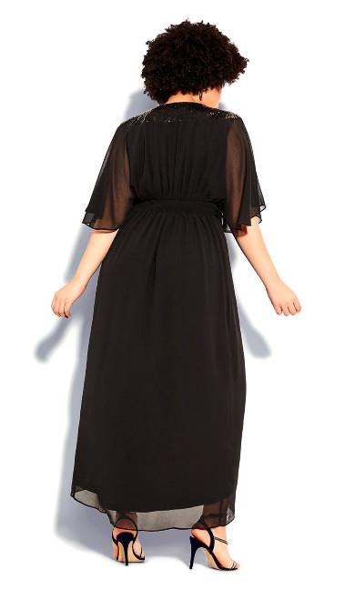 Sequin Wrap Maxi Dress - black