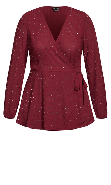 Bling Flirt Top - ruby