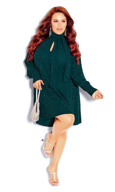 Plus Size Nailhead Tunic - emerald
