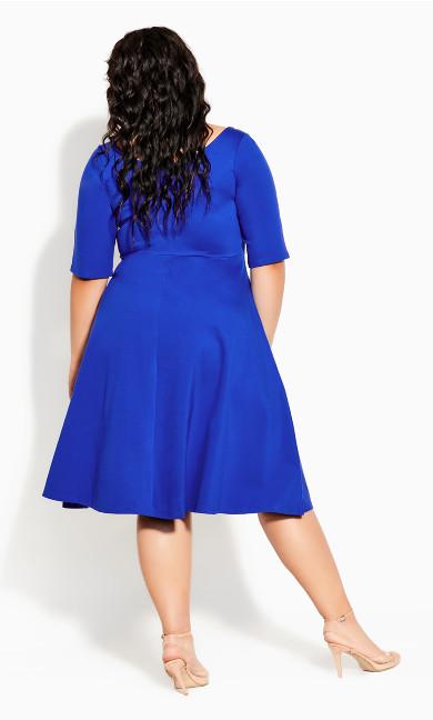 Cute Girl Elbow Sleeve Dress - lapis