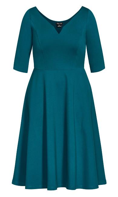 Cute Girl Elbow Sleeve Dress - teal