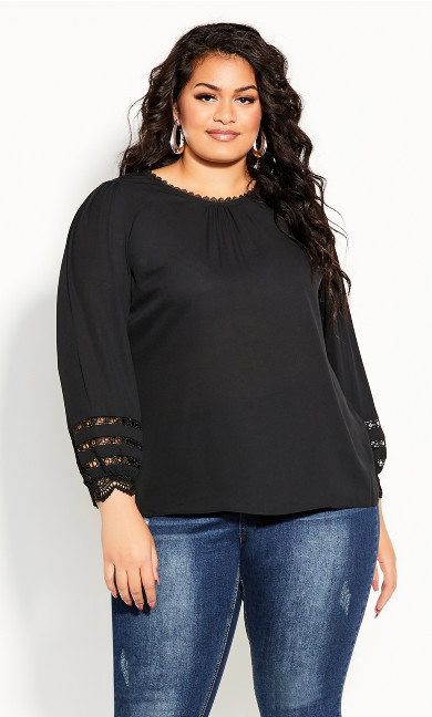 Plus Size Lace Desire Shirt - black