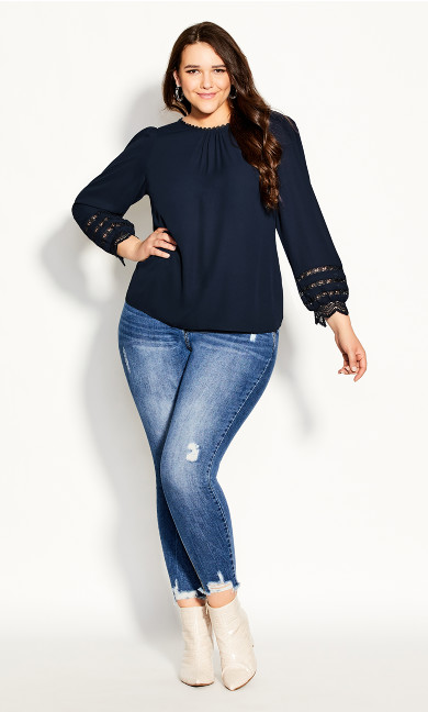 Plus Size Lace Desire Shirt - navy