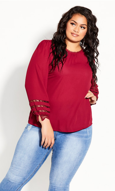 Plus Size Lace Desire Shirt - sangria