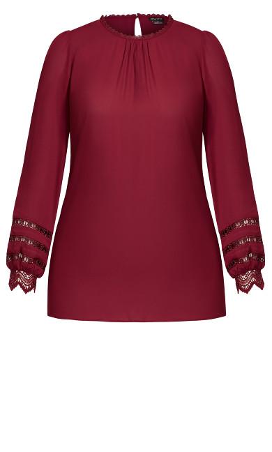 Lace Desire Shirt - sangria