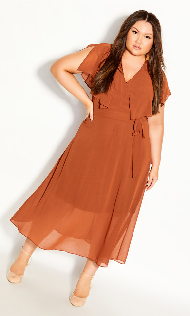 Plus Size Softly Tied Dress - ginger