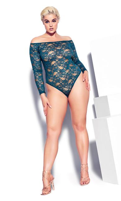 Sheer Lace Bodysuit - poseidon