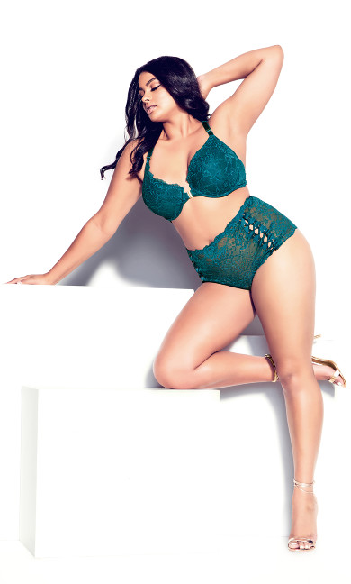 Pia Crotchless Thong - teal