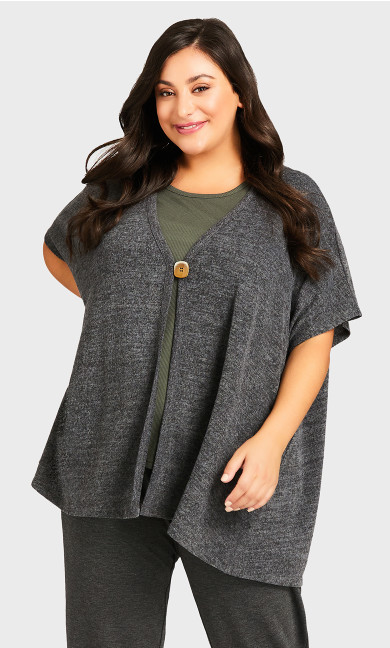 Slouchy Lounge Cardigan - charcoal