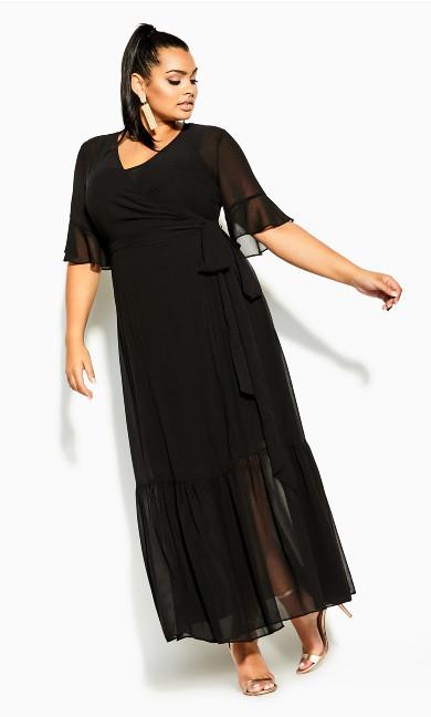 Plus Size Flutter Wrap Maxi Dress - black