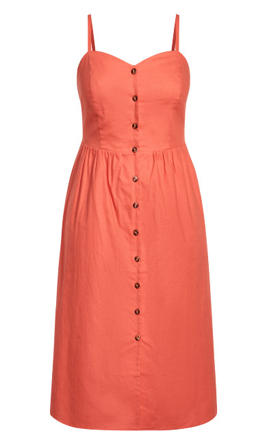 Button Baby Dress - coral