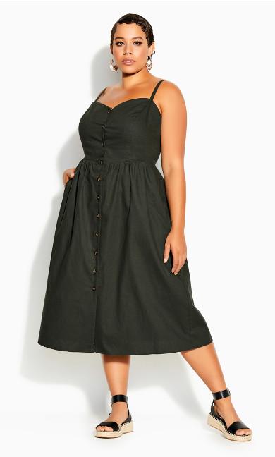 Plus Size Button Baby Dress - fern