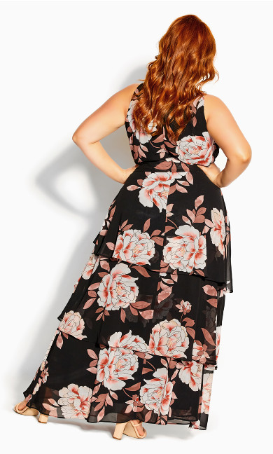 Imperial Bloom Maxi Dress - black
