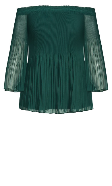 Pleated Off Shoulder Top - jade