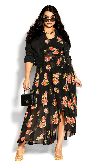 Petal Power Maxi Dress - black
