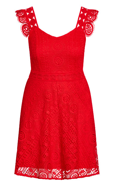 Dainty Lace Dress - lipstick