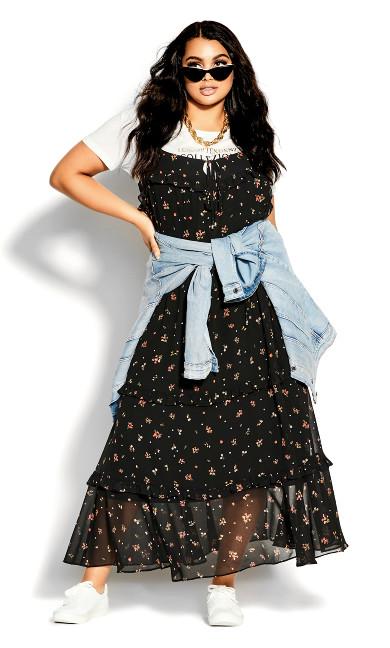 Petal Ditsy Maxi Dress - black