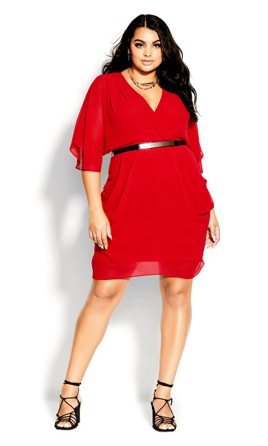 Colour Wrap Dress - lipstick