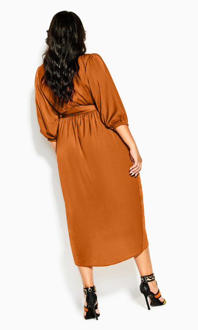 Opulent Elbow Sleeve Dress - caramel