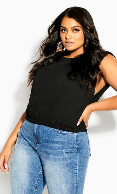 Bold Shoulder Top - black