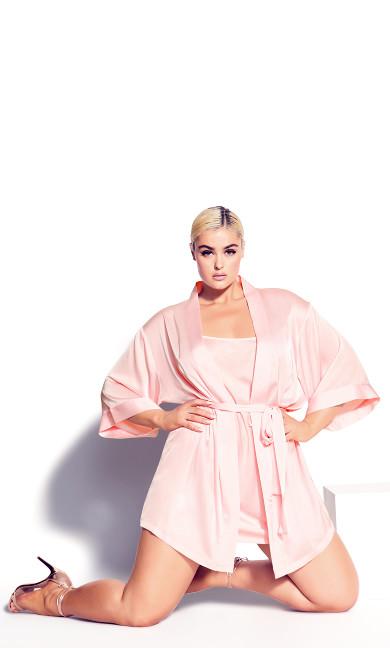 Satin Chemise & Robe Set - soft pink