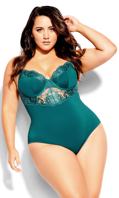 Harper Underwire Bodysuit - forest green