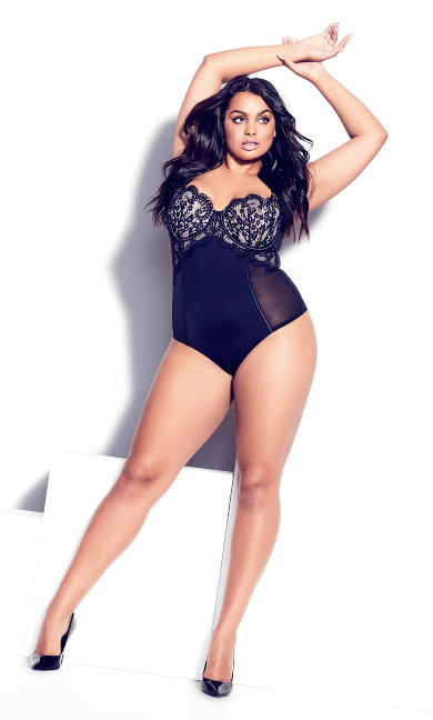 Delores Underwire Bodysuit - black