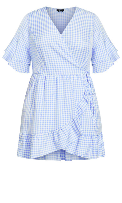 Wrap Gingham Dress - sky blue