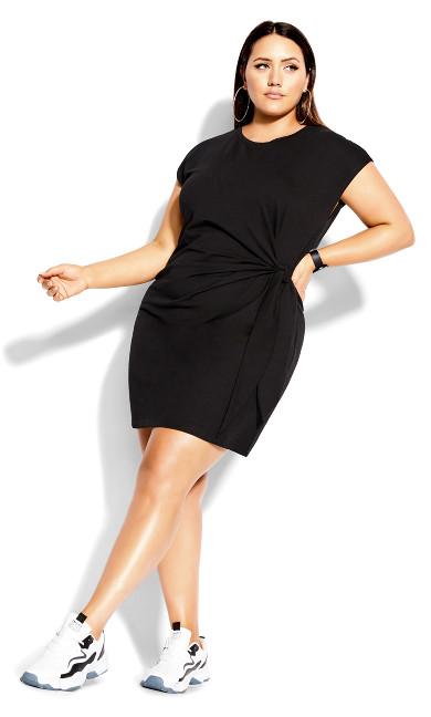 Easy Side Tie Dress - black