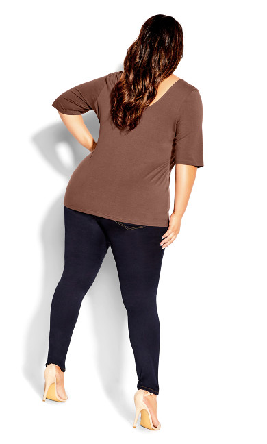 Scoop Neck Elbow Sleeve Tee - dusk