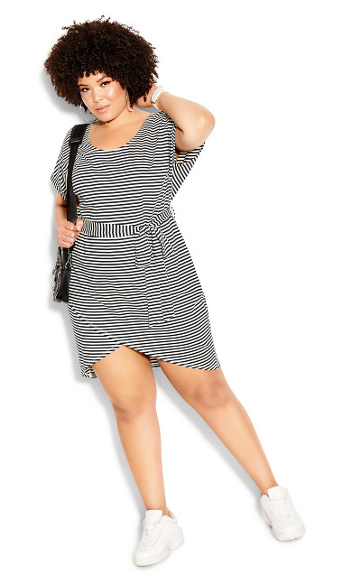 Relaxed Stripe Dress - navy