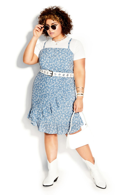 Floating Daisy Dress - powder blue