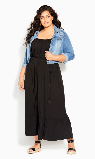 Tropical Escape Maxi Dress - black
