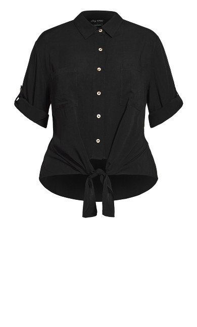 Tropical Tie Top - black
