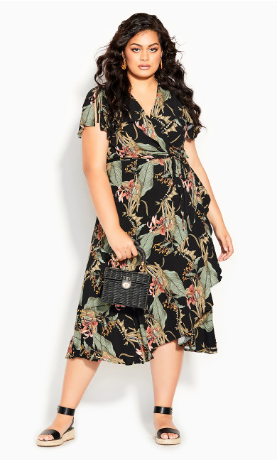 Island Palm Maxi Dress - black
