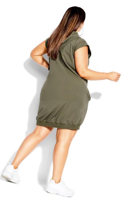 Simple Hoodie Dress - dark khaki