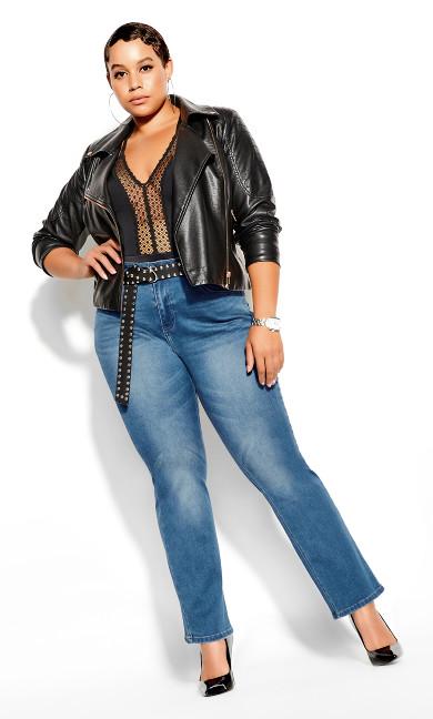 Harley Bootleg Petite Jean - mid denim