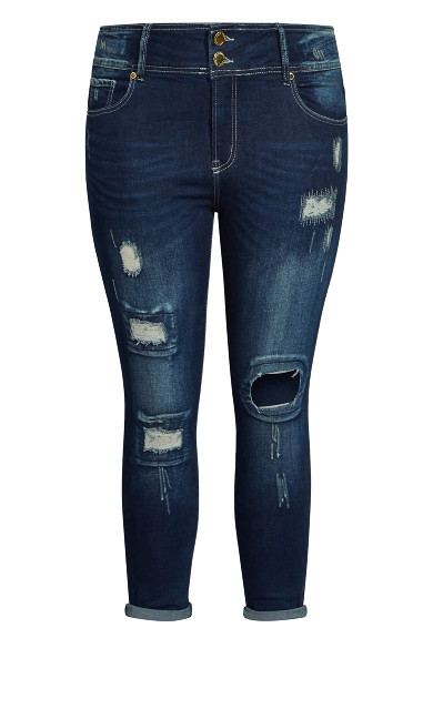 Asha Patched Petite Jean - mid denim
