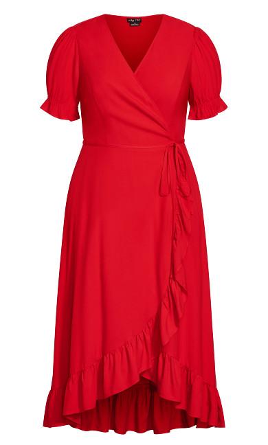Festive Ruffle Maxi Dress - red