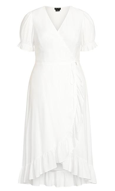Festive Ruffle Maxi Dress - white