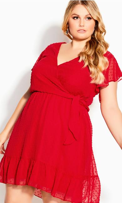 Dobby Tie Dress - red