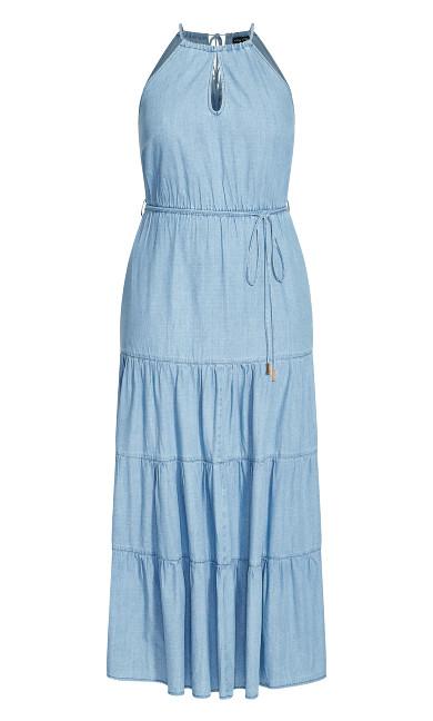 Hamptons Tier Maxi Dress - denim