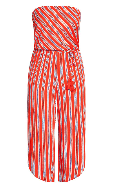Summer Stripe Jumpsuit - tomato